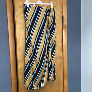 Striped Midi Silk-like Skirt